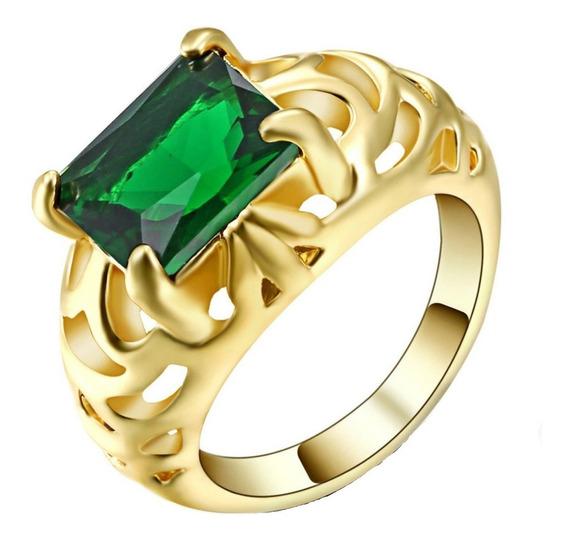 Anel Feminino Formatura Para Curso Pedra Esmeralda Verde 998