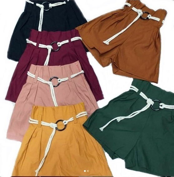 Shorts Feminino Bengaline Cordão Cintura Alta Amarração