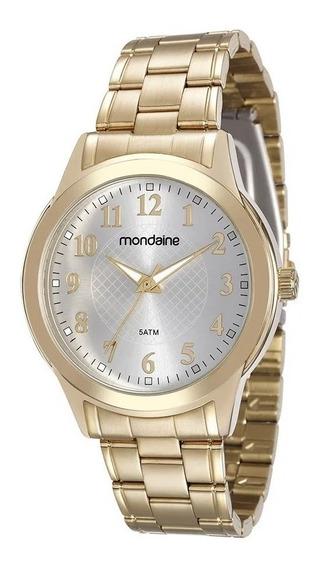 Relógio Feminino Dourado Casual Mondaine Original + Garantia