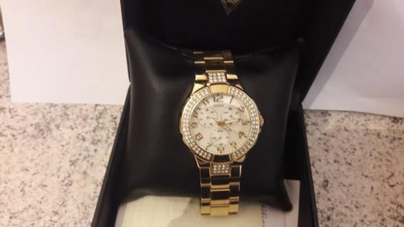 Relógio Feminino Original Guess Dourado Novo