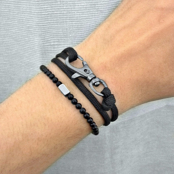 Bracelete Masculino Pulseira Miçanga Preta