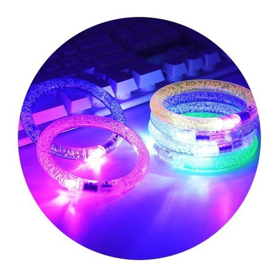 12 Pulsera Luminosa Luz Led Acrílico Fiesta Batucada Glow