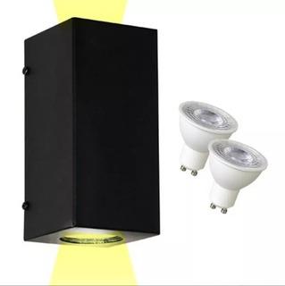 Aplique Exterior Bidireccional En Blancoo Negro Apto Intemperie Con 2 Dicroica Led 7 W Fria O Calida Completo Garantia