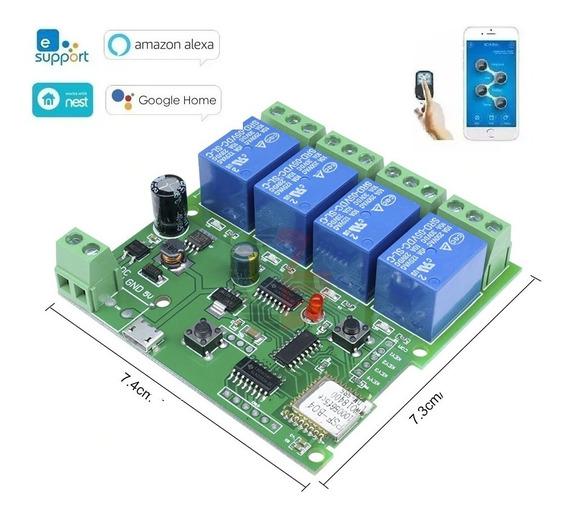 Modulo Rele 4ch Canais Interruptor Wifi Automação Residencial Comando De Voz Google Home Alexa (sonoff) Promoção