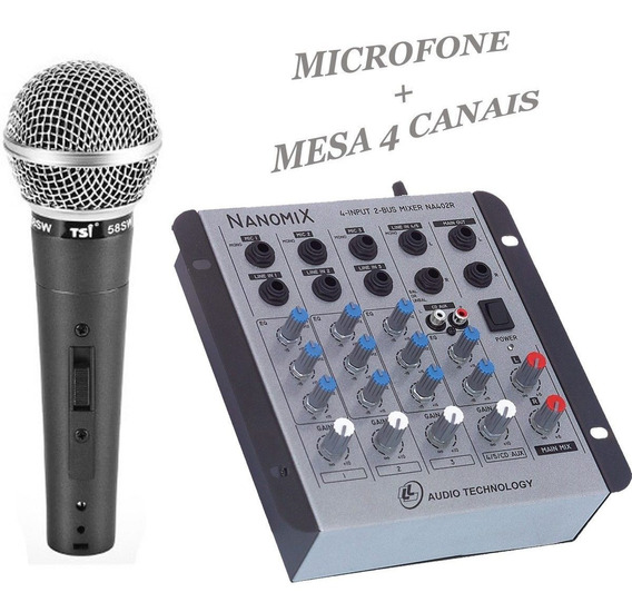 Kit Microfone Leson Top Profissional + Mesa Som 4 Canais