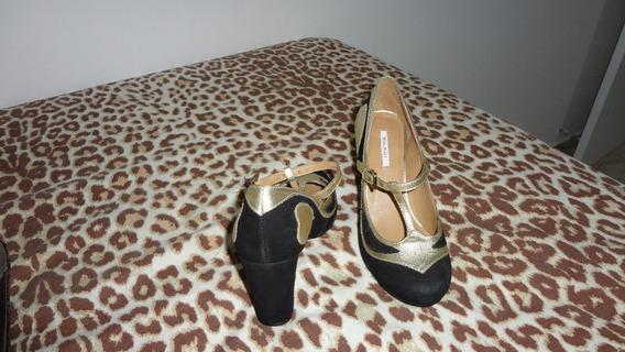 Sapatos Marca Mya Haas Preto/dourado Nobuk