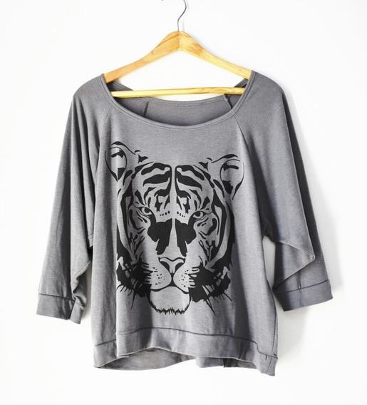 Remera Gris Algodon Y Modal Tigre