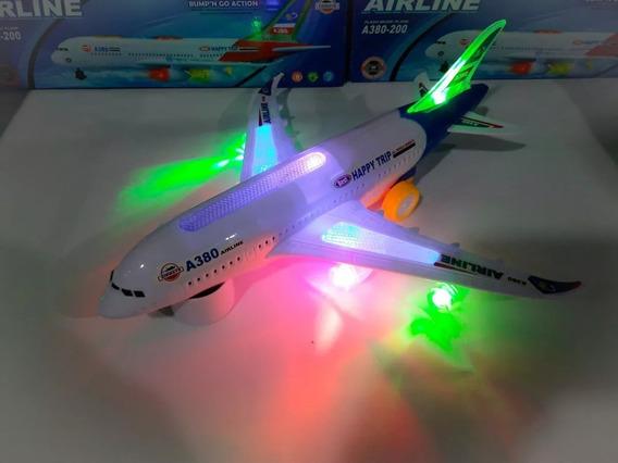Avião De Brinquedo Air Liner A-380 Com Luz Som Lindo