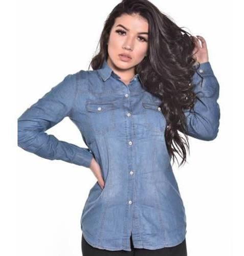 Camisa Jeans Feminina Manga Longa Blusa Camiseta 514c