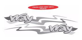 Adesivo Faixa Lateral Uno Way 2013 Cor Prata - Jogo