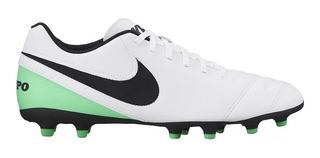 Chuteira Nike Campo Tiempo Rio 3 Branco/verde 9200 Leve Confortável