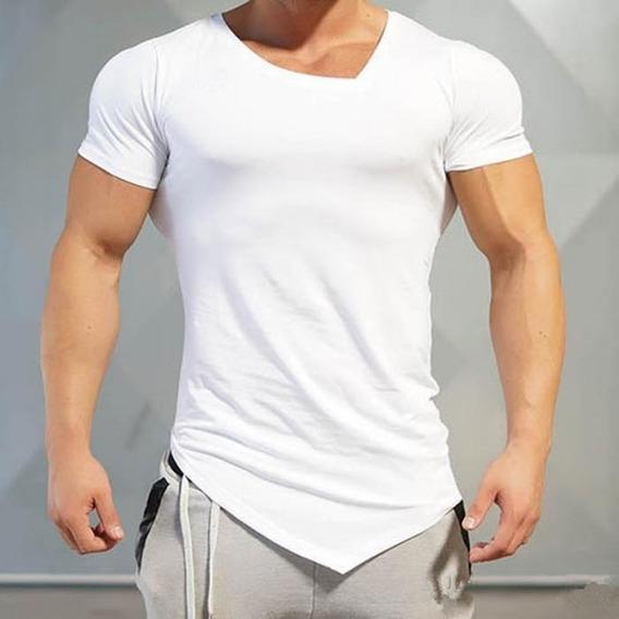 Playera Fitness Gym Cuello Irregular