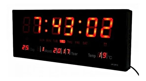 Reloj Pared Digital Led Alarma Calendario 36cm Temp + Fecha