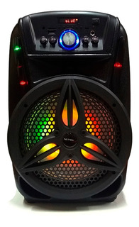 Parlante Portatil Karaoke Bluetooth Sd Mp3 Radio Mic Luz Rgb