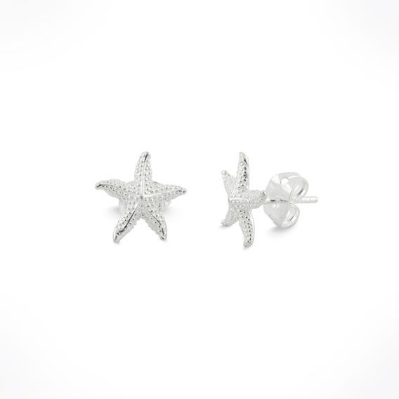 Aretes De Estrella De Mar Para Mujer De Plata Ley .925