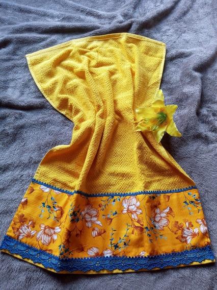 Toalha De Rosto Amarelo Mango 48x70cm Com Tricoline E Guipir