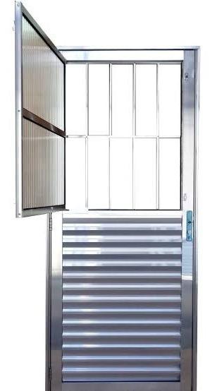Porta De Aluminio Social Brilhante Linha 25 2,10x0,80