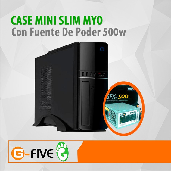 Case Myo Mini Slim Itx Black Piano Finish 500 Watts
