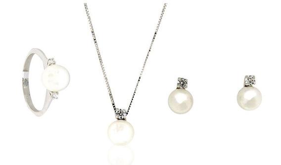Colección Moscú Oro Blanco 14 K Con Perlas Naturales