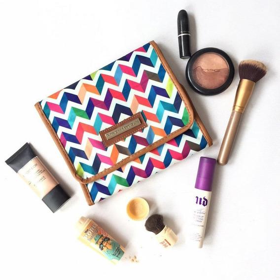 Bolsa De Maquiagem Nylon Estampa Zigzag Patricia Henriques