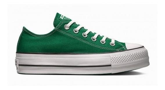 Zapatillas Converse Con Plataforma Verde Oscuro
