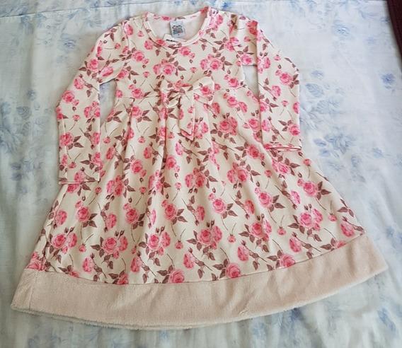 Vestido Menina Frio Infantil Floral Forrada Manga Longa 4