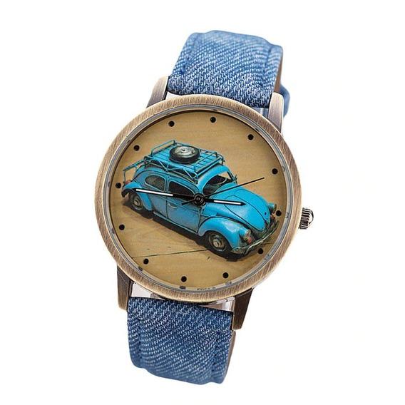 Relógio Vintage De Pulso Retrô Fusca Azul Pulseira De Couro