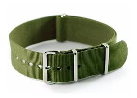 Pulseira Nato Nylon Slim Verde Oliva 18 Mm Ac. Polido