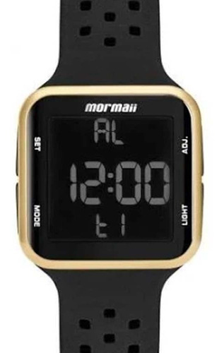 Relógio Feminino Digital Esporte Com Pulseira De Silicone Preto Dourado Mormaii Mo6600/8d Original C/ Garantia