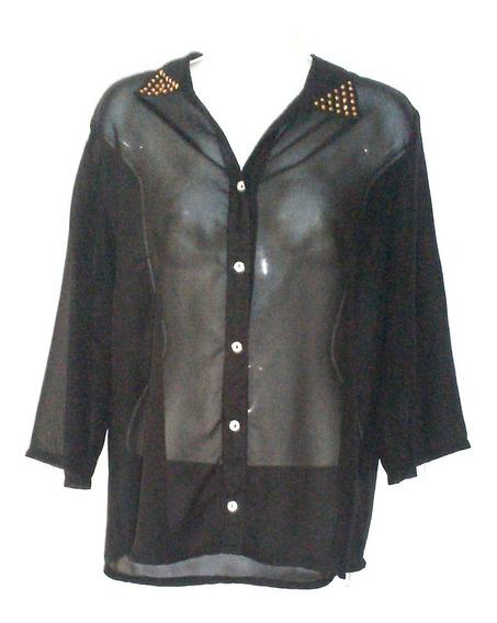 Camisa-blusa Sexy Transparente Cuello Estoperoles G $390a