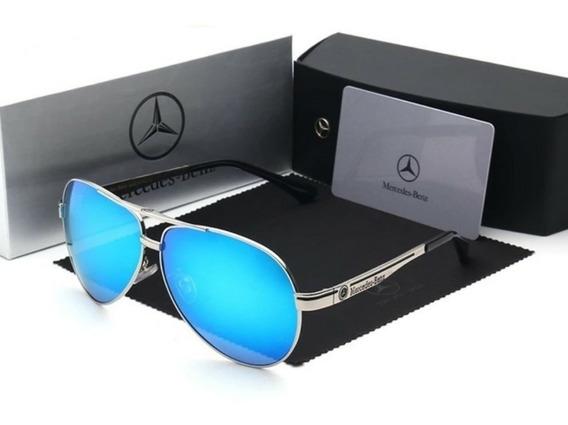 Óculos Mercedes Benz Aviador Lente Azul Mb737 65