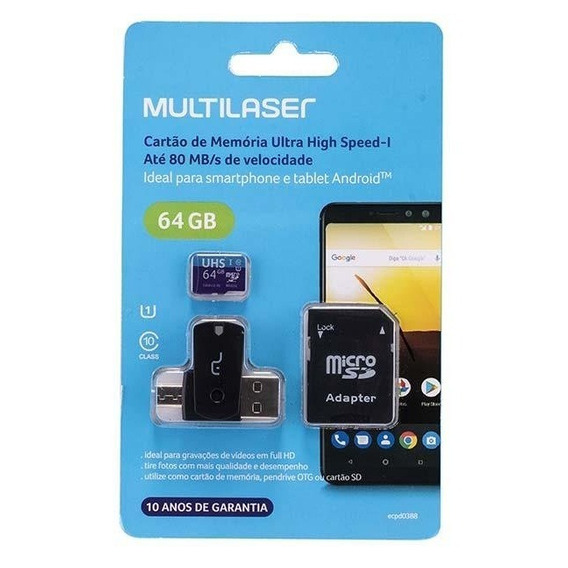 Cartão Multilaser 64gb Original Class 10 + Adap. Otg