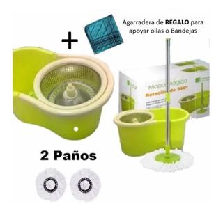 Balde Mopa Giratoria Centrifugador De Acero + 1 Paño