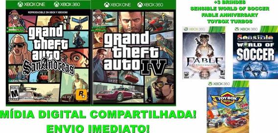 Combo Gta Iv + Gta San Andreas Xbox 360/one Mídia Digital