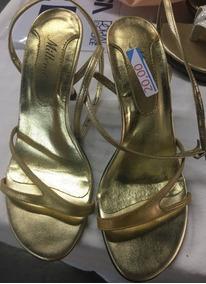 ba17efb63 Sandalia Dourada De Festa Usada - Sandálias Feminino, Usado no ...