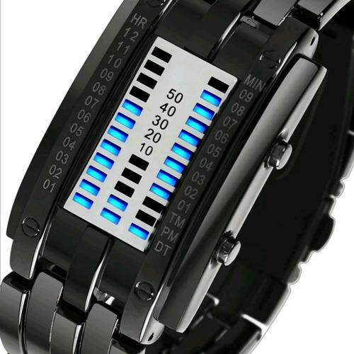 Reloj Electrónico Unisex Acero Binario 17cm Negro