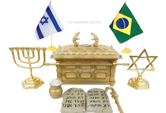 Arca Da Aliança+ Kit Judaico+ Utensílios+ Kit Bandeira