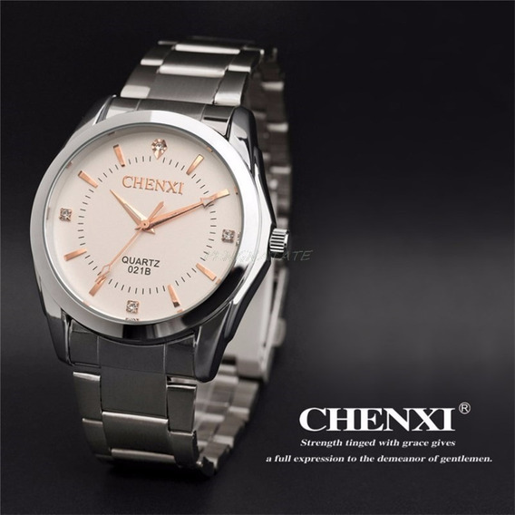 Relógio De Luxo Prateado Chenxi