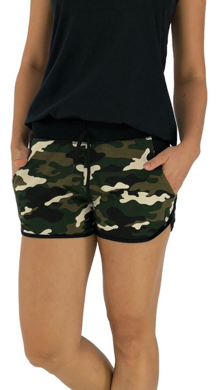 Shorts Feminino Moletom Estampados Cintura Alta Shortinhos