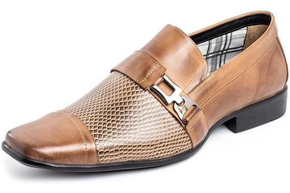 Sapato Masculino Social Casual Alongado Couro Legítimo Cor Trigo Marca Pierrô