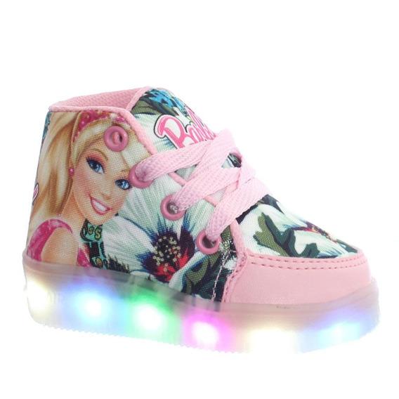 Tenis Bota Sneakers Led Luz Barbie Infantil Feminino Meninas