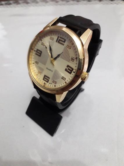 Promoçao Relógio Quartz Dourado