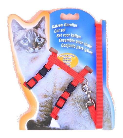 Conjunto De Guia E Peitoral Para Gatos Vermelha