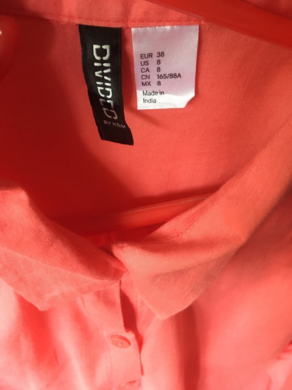 Camisa Mujer Color Coral Puro Algodon Import . Talle L