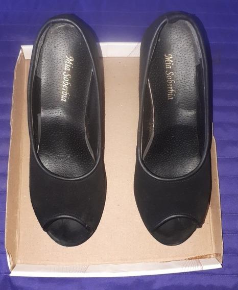Zapatos Taco Chino De Gamuza