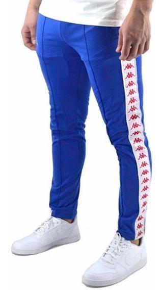 Pantalon Kappa Banda Rastoria Slim Azul Blanco Rojo Flex