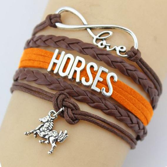 Pulseira Marrom Feminina Masculina Cavalo Horses Infinito