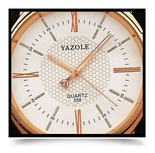 Relógio Masculino Novo Yazole Pulso Couro Original Top