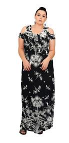 Roupa Feminina Vestido Longo Fechado Plus Size +56
