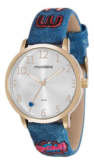 Relógio Feminino Dourado Pulseira Azul Jeans Todos Números